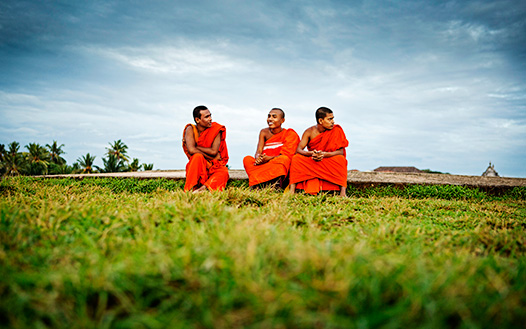 Buddhist Monks At Sunset, Galle Fort, Sri Lanka